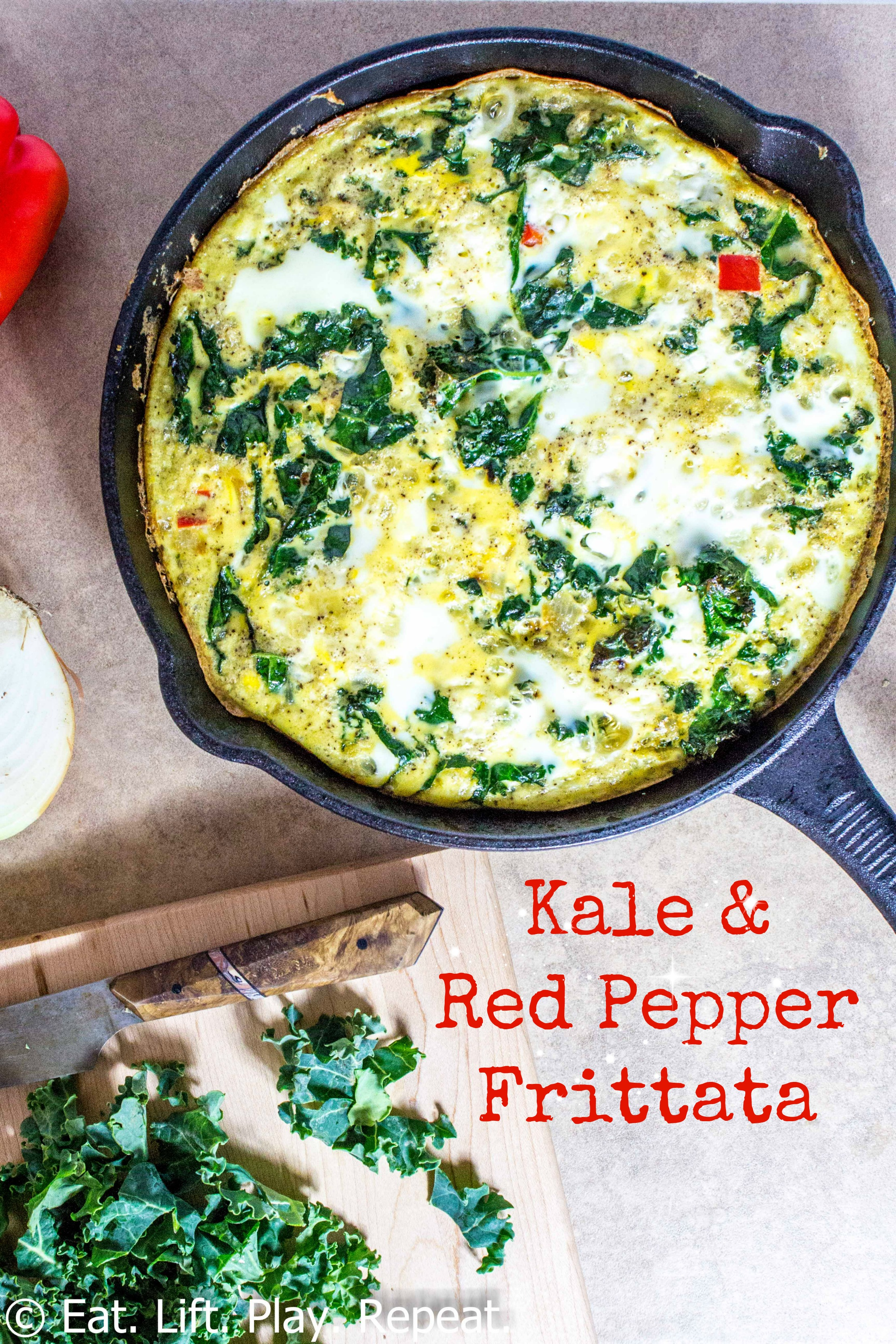 Kale & Red Pepper Frittata - Eat. Lift. Play. Repeat.