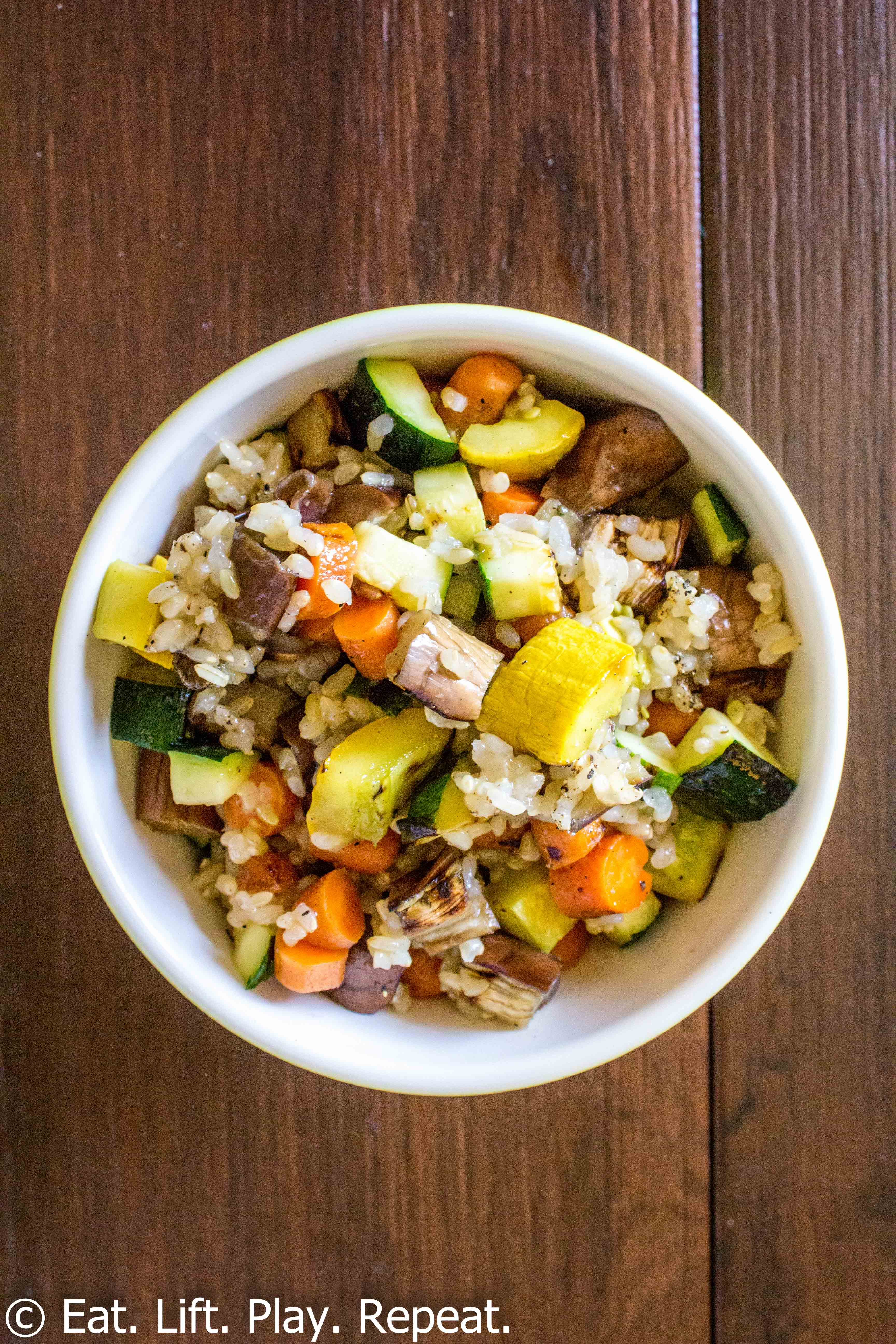 This recipe for Brown Rice with Grilled Vegetables can be made with ...
