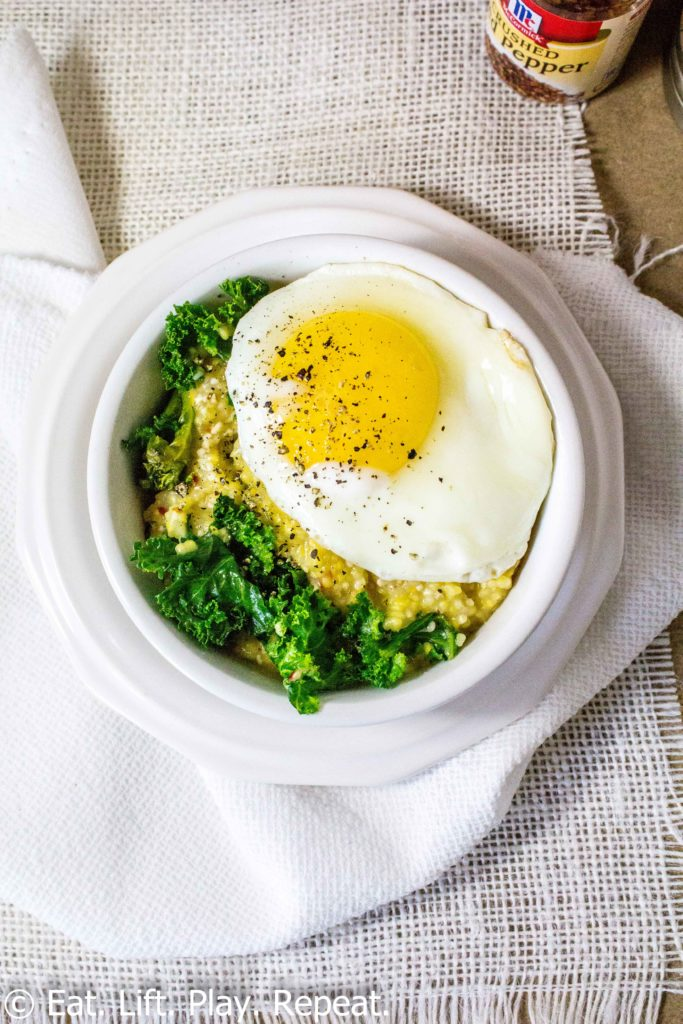 Breakfast Grits with Kale