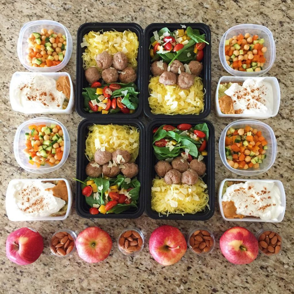 Meal prep from yesterdayspaghetti squash with turkey meatballs and saladhellip